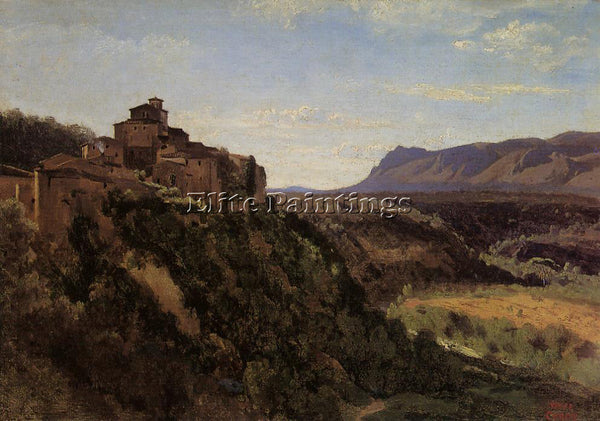 JEAN-BAPTISTE-CAMILLE COROT PAPIGNO BUILDINGS OVERLOOKING THE VALLEY OIL CANVAS