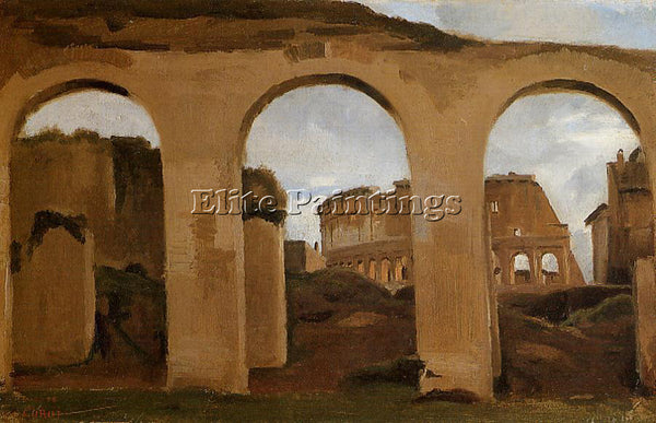 CAMILLE COROT ROME COLISEUM SEEN THROUGH ARCHES BASILICA OF CONSTANTINE PAINTING