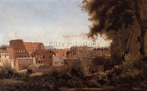 CAMILLE COROT ROME VIEW FROM FARNESE GARDENS NOON AKA STUDY COLISEUM OIL CANVAS