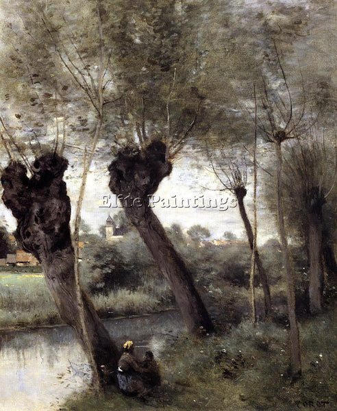 CAMILLE COROT SAINT NICHOLAS LES ARRAS WILLOWS ON BANKS SCARPE PAINTING HANDMADE