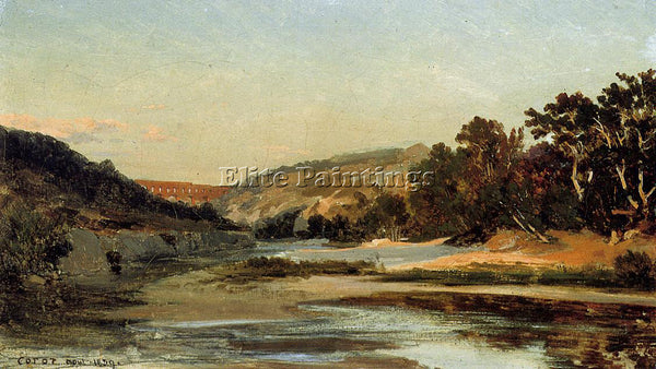 JEAN-BAPTISTE-CAMILLE COROT THE AQUEDUCT IN THE VALLEY ARTIST PAINTING HANDMADE