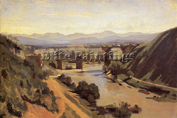 JEAN-BAPTISTE-CAMILLE COROT THE AUGUSTAN BRIDGE AT NARNI ARTIST PAINTING CANVAS