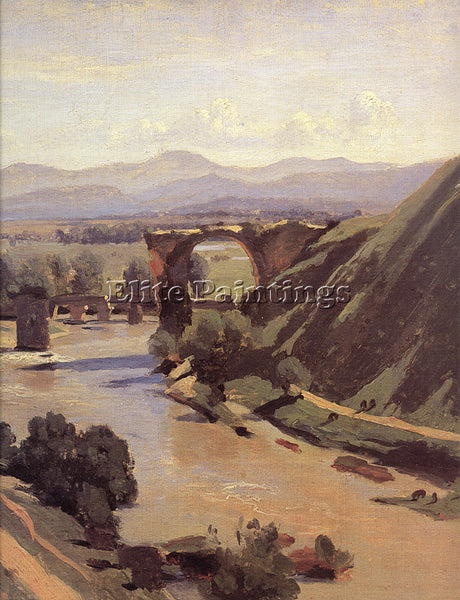 JEAN-BAPTISTE-CAMILLE COROT THE AUGUSTAN BRIDGE AT NARNI DETAIL ARTIST PAINTING
