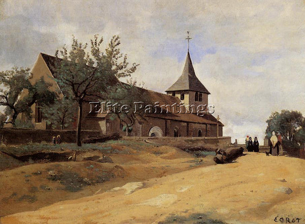 JEAN-BAPTISTE-CAMILLE COROT THE CHURCH AT LORMES ARTIST PAINTING HANDMADE CANVAS