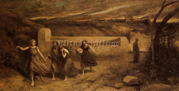 JEAN-BAPTISTE-CAMILLE COROT THE DESTRUCTION OF SODOM ARTIST PAINTING HANDMADE