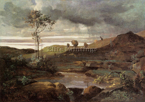 JEAN-BAPTISTE-CAMILLE COROT THE ROMAN CAMPAGNA IN WINTER ARTIST PAINTING CANVAS