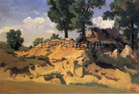 JEAN-BAPTISTE-CAMILLE COROT TREES AND ROCKS AT LA SERPENTARA ARTIST PAINTING OIL