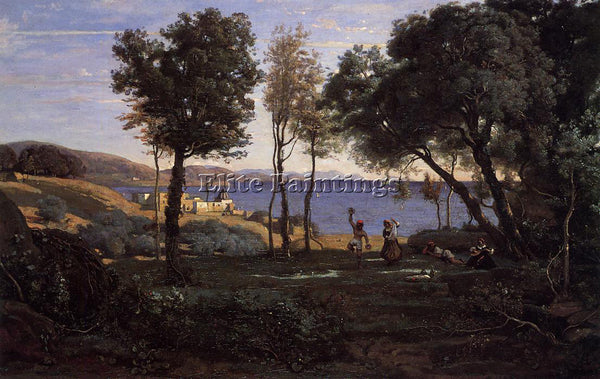 JEAN-BAPTISTE-CAMILLE COROT VIEW NEAR NAPLES ARTIST PAINTING HANDMADE OIL CANVAS