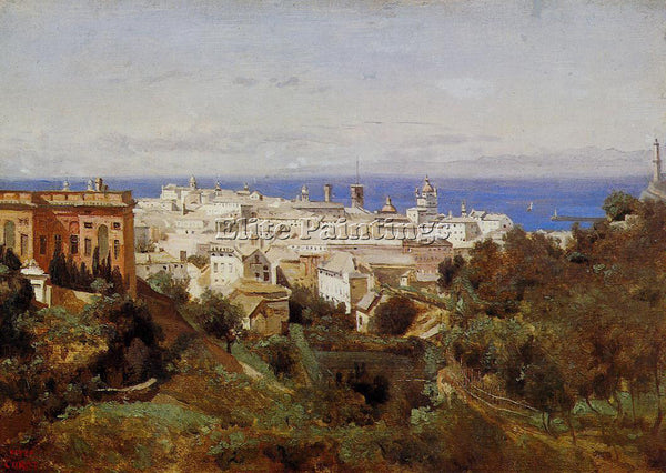 JEAN-BAPTISTE-CAMILLE COROT VIEW OF GENOA FROM PROMENADE OF ACQUA SOLA PAINTING