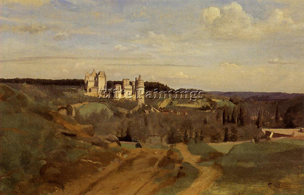 JEAN-BAPTISTE-CAMILLE COROT VIEW OF PIERREFONDS ARTIST PAINTING REPRODUCTION OIL