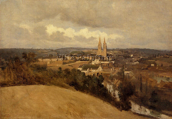 JEAN-BAPTISTE-CAMILLE COROT VIEW OF SAINT LO ARTIST PAINTING HANDMADE OIL CANVAS