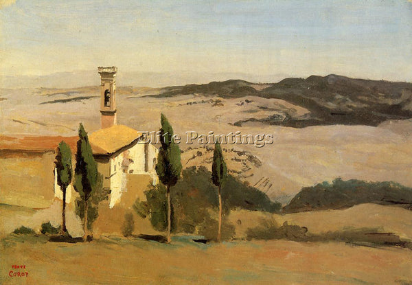 JEAN-BAPTISTE-CAMILLE COROT VOLTERRA CHURCH AND BELL TOWER ARTIST PAINTING REPRO