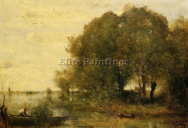 JEAN-BAPTISTE-CAMILLE COROT WOODED PENINSULA ARTIST PAINTING HANDMADE OIL CANVAS