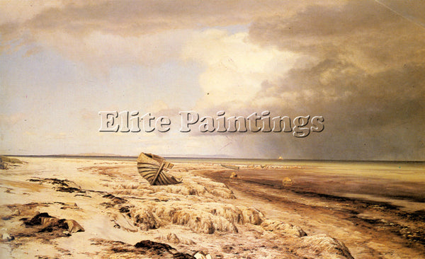 DENMARK COUR JANUS LA DESERTED BOAT ON A BEACH ARTIST PAINTING REPRODUCTION OIL