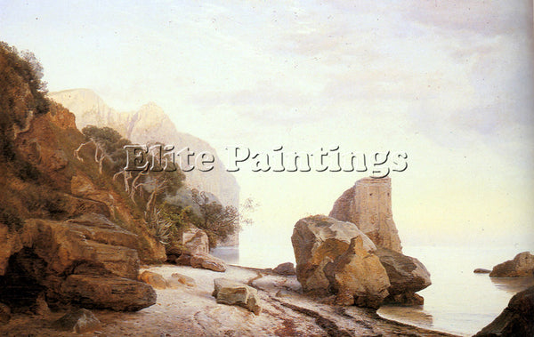 DENMARK COUR JANUS LA ROCKS ALONG THE SHORE ARTIST PAINTING HANDMADE OIL CANVAS
