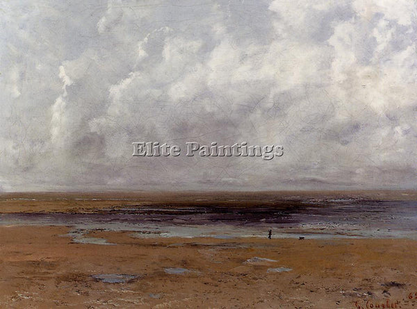 GUSTAVE COURBET THE BEACH AT TROUVILLE AT LOW TIDE ARTIST PAINTING REPRODUCTION