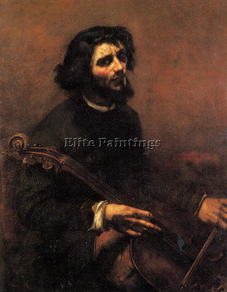 GUSTAVE COURBET THE CELLIST SELF PORTRAIT ARTIST PAINTING REPRODUCTION HANDMADE