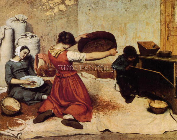 GUSTAVE COURBET THE GRAIN SIFTERS ARTIST PAINTING REPRODUCTION HANDMADE OIL DECO