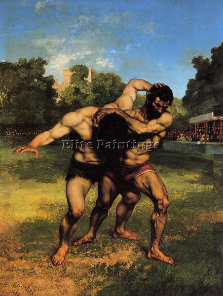 GUSTAVE COURBET THE WRESTLERS ARTIST PAINTING REPRODUCTION HANDMADE CANVAS REPRO
