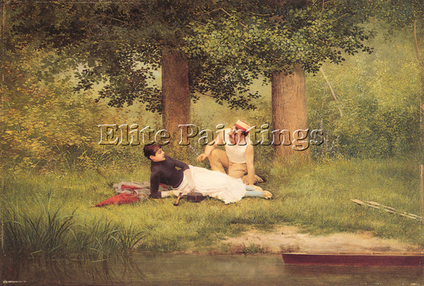 GEORGES CROEGAERT  THE FLIRTATION ARTIST PAINTING REPRODUCTION HANDMADE OIL DECO
