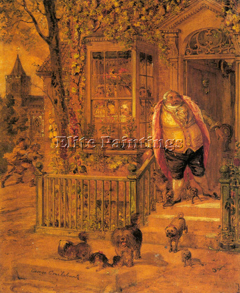 BRITISH CRUIKSHANK GEORGE A RUNAWAY KNOCK ARTIST PAINTING REPRODUCTION HANDMADE