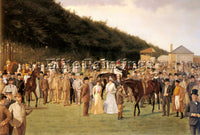 BRITISH CULLIN ISAAC J NEWMARKET A JULY MEETING ARTIST PAINTING REPRODUCTION OIL
