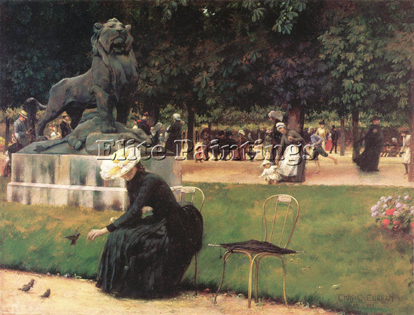 CHARLES COURTNEY CURRAN IN THE LUXEMBOURG GARDEN 1889 ARTIST PAINTING HANDMADE