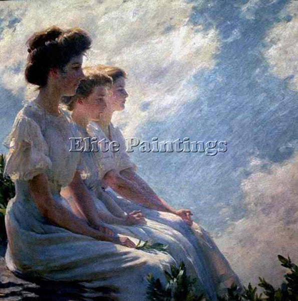 CHARLES COURTNEY CURRAN ON THE HEIGHTS ARTIST PAINTING REPRODUCTION HANDMADE OIL