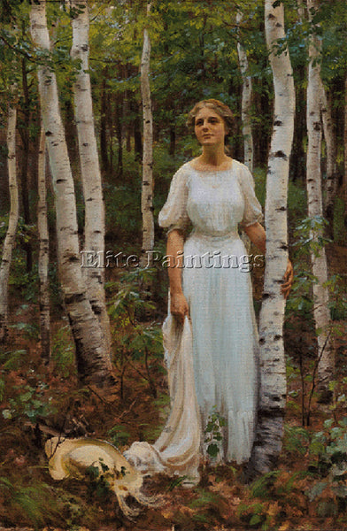 CHARLES COURTNEY CURRAN WOODLAND SOLITUDE ARTIST PAINTING REPRODUCTION HANDMADE