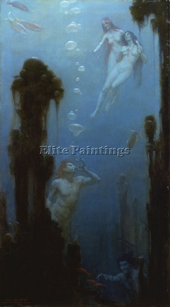 CHARLES COURTNEY CURRAN A DEEP SEA FANTASY ARTIST PAINTING REPRODUCTION HANDMADE