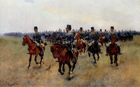 JOSE CUSACHS Y CUSACHS MOUNTED CAVALRY ARTIST PAINTING REPRODUCTION HANDMADE OIL