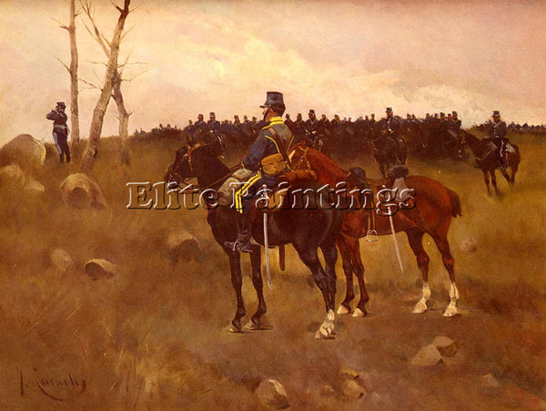 JOSE CUSACHS Y CUSACHS SOLDIERS ON HORSEBACK ARTIST PAINTING HANDMADE OIL CANVAS