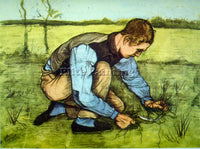 VAN GOGH CUTTING GRASS ARTIST PAINTING REPRODUCTION HANDMADE CANVAS REPRO WALL