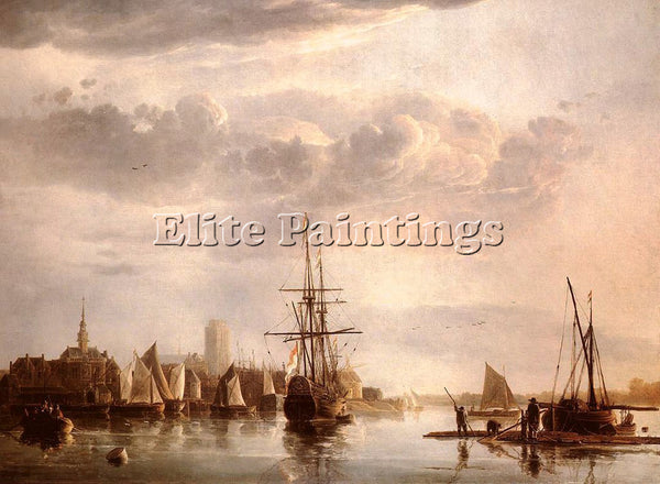 AELBERT CUYP VIEW OF DORDRECHT ARTIST PAINTING REPRODUCTION HANDMADE OIL CANVAS