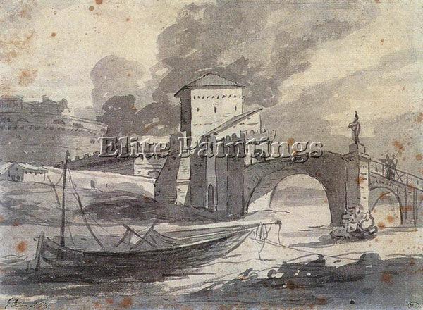 JACQUES-LOUIS DAVID VIEW OF THE TIBER AND CASTEL ST ANGELO ARTIST PAINTING REPRO