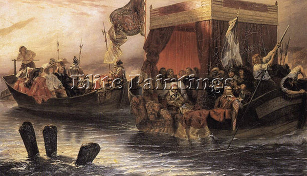 PAUL DELAROCHE THE STATE BARGE OF CARDINAL RICHELIEU ON THE RHONE ARTIST CANVAS