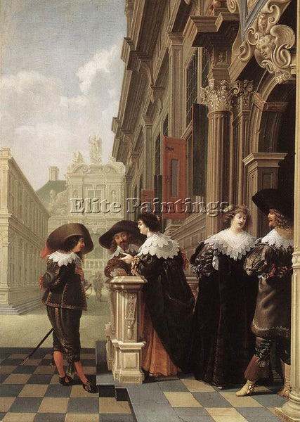 HOLLAND DELEN DIRCK VAN CONVERSATION OUTSIDE A CASTLE ARTIST PAINTING HANDMADE