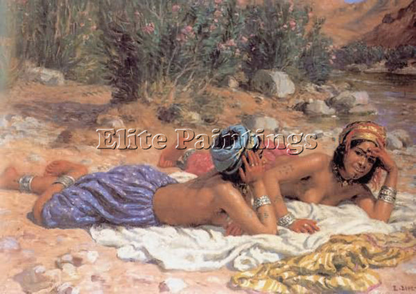 ETIENNE DINET BATHERS RESTING ARTIST PAINTING REPRODUCTION HANDMADE CANVAS REPRO