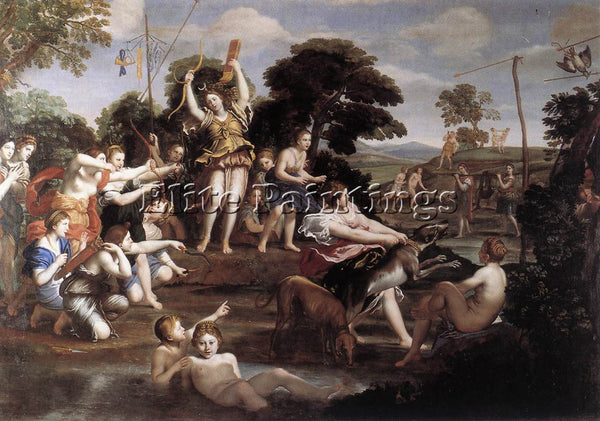 DOMENICHINO DIANA AND HER NYMPHS ARTIST PAINTING REPRODUCTION HANDMADE OIL REPRO