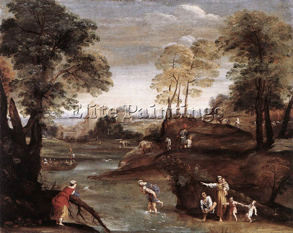 DOMENICHINO LANDSCAPE WITH FORD ARTIST PAINTING REPRODUCTION HANDMADE OIL CANVAS