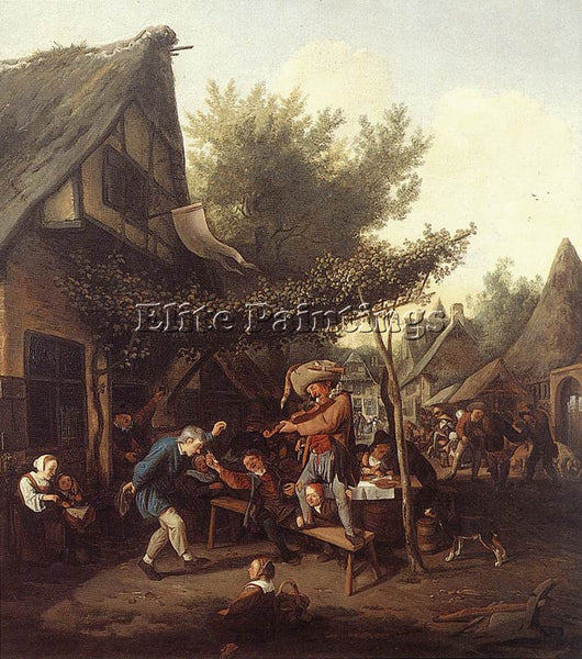 DENMARK DUSART CORNELIS VILLAGE FEAST ARTIST PAINTING REPRODUCTION HANDMADE OIL