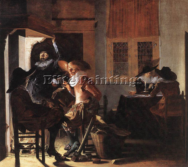 DENMARK DUYSTER WILLEM CORNELISZ SOLDIERS BESIDE A FIREPLACE ARTIST PAINTING OIL