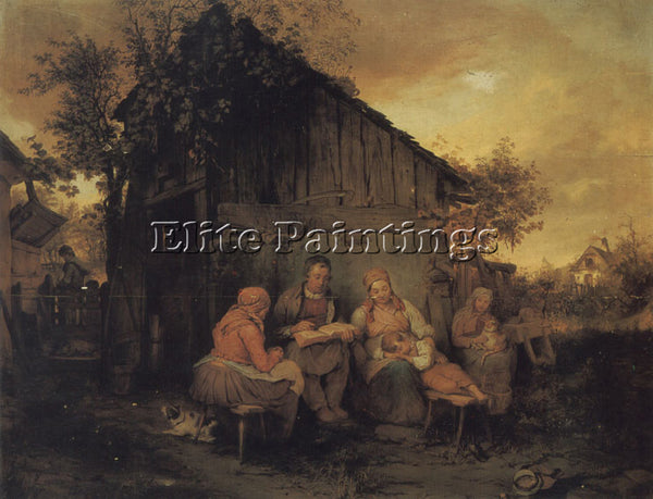 AUSTRIAN DANHAUSER JOSEF A FAMILY RESTING AT SUNSET ARTIST PAINTING REPRODUCTION