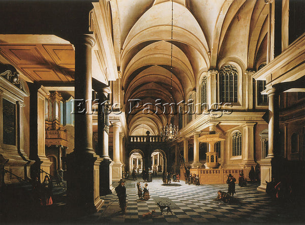 HOLLAND DANIEL DE BLIECK A CHURCH INTERIOR ARTIST PAINTING REPRODUCTION HANDMADE