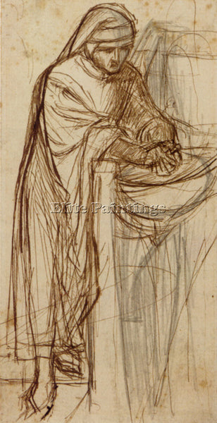 DANTE GABRIEL ROSSETTI STUDY FOR DANTE AT VERONA WITH A PRELIMINARY PAINTING OIL
