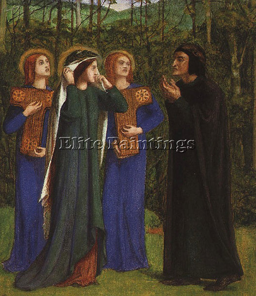 DANTE GABRIEL ROSSETTI THE MEETING OF DANTE AND BEATRICE IN PARADISE OIL CANVAS