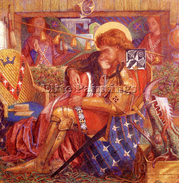 DANTE GABRIEL ROSSETTI THE WEDDING OF SAINT GEORGE AND PRINCESS SABRA ARTIST OIL