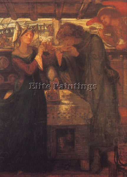 DANTE GABRIEL ROSSETTI TRISTRAM AND ISOLDE DRINKING THE LOVE POTION PAINTING OIL