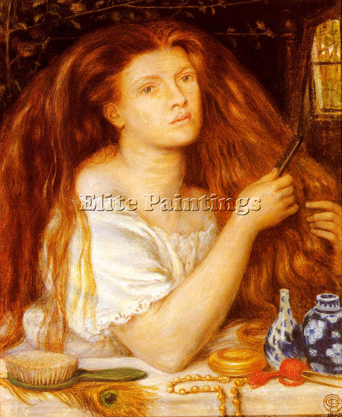 DANTE GABRIEL ROSSETTI WOMAN COMBING HER HAIR ARTIST PAINTING REPRODUCTION OIL