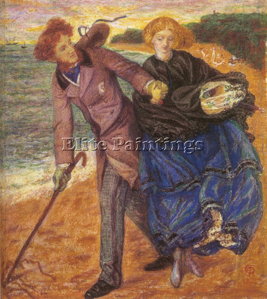 DANTE GABRIEL ROSSETTI WRITING ON THE SAND ARTIST PAINTING REPRODUCTION HANDMADE